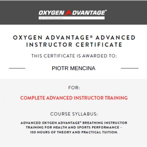 Oxygen Advantage Advanced Instructor Certyficate